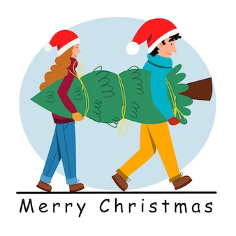 A young couple carrying a christmas tree together.