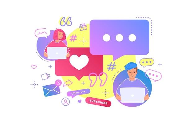 젊은 부부는 업무용 책상에서 노트북을 사용하여 소셜 미디어에서 함께 채팅합니다. 온라인 채팅, 해시태그 재게시 및 모바일 비디오 시청에 대한 평면 밝은 벡터 그림. 흰색에 연설 거품을 가진 사람들