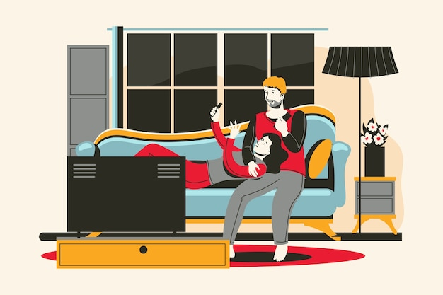 A young couple chilling out with a gadgets in the living room