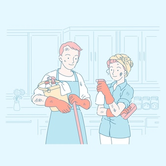 Young couple cleaning household with different equipment