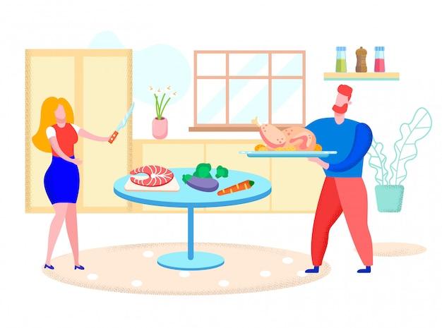 若いカップルが自宅で一緒に健康的なディナーを調理します。