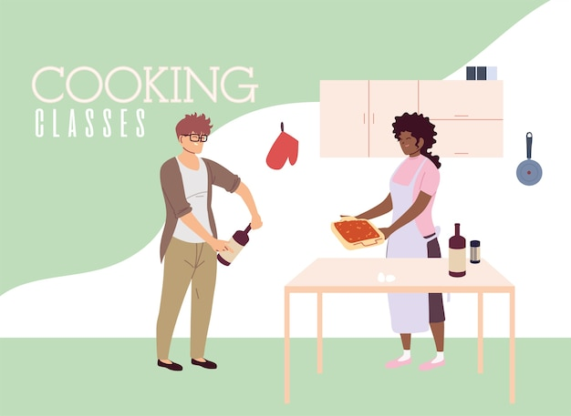 Young couple in cooking classes illustration design
