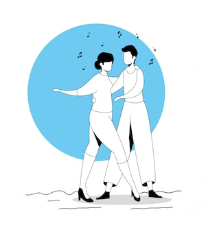 Young couple dancing avatar character icon
