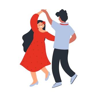 若いカップルの白い背景で隔離のキャラクターを踊るフラットスタイルのベクトル図