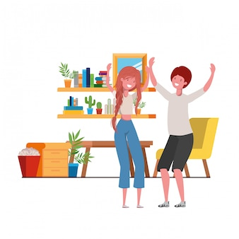 Young couple dancing in living room character