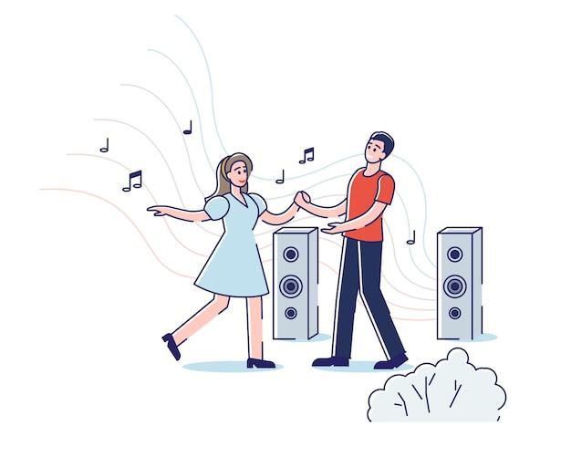 젊은 커플 야외 춤. 자연 속에서 음악을 즐기는 만화 남자와 여자 댄스.