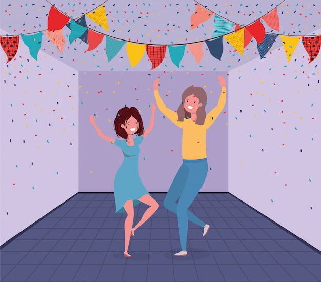 Young couple dancing in the room