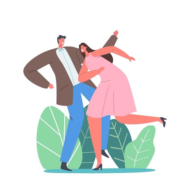 여가 시간에 춤을 추는 젊은 부부. 사람들은 활동적인 생활 방식, 사랑하거나 우호적인 관계에 있는 남녀가 함께 시간을 보냅니다. 디스코 댄스 레저 또는 취미 활동, 취미. 만화 벡터 일러스트 레이 션