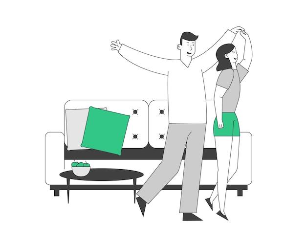 若いカップルのダンスの暇な時間