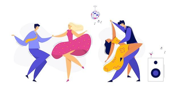 젊은 커플 댄스 스윙, 탱고, 팝. 남성과 여성 댄서 캐릭터 세트와 나이트 클럽 디스코 파티.