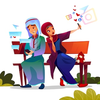 Young couple dating illustration of saudi arabian teen boy and girl in hijab and khaliji