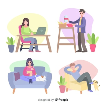 Young couple doing activities at home