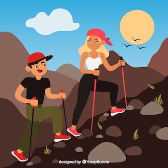 Young couple doing outdoor activities with flat design