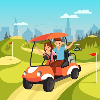 Young couple driving by cart on green golf course.