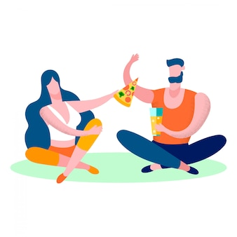 Young couple eating pizza flat vector illustration