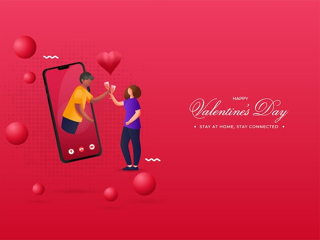 Young couple enjoying drinks through video call on the occasion of happy valentine's day stay at home, stay connected.