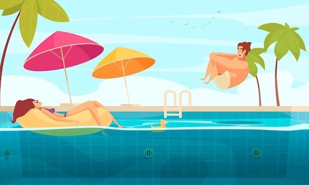 Молодая пара, наслаждаясь в бассейне