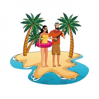 Young couple enjoying summer cartoons