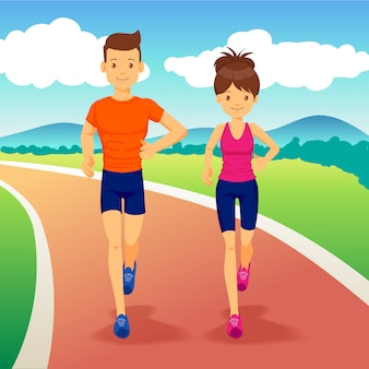 Young couple flat design running at the park