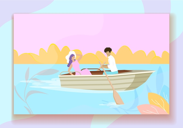 Young couple floating at boat with paddles in pond