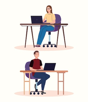 Young couple freelancers workers characters using laptops