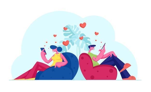 Молодая пара друзей или любовников, общающихся с помощью смартфонов, плоский рисунок шаржа