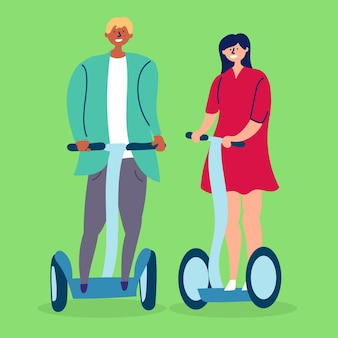 Young couple girl boyfriend ride hoverboard