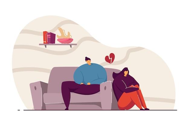 인수 벡터 일러스트 레이 션 데 젊은 부부. 남자와 여자는 그들 사이의 오해에 대해 생각합니다. 웹 사이트 디자인 또는 방문 페이지에 대한 충돌 개념입니다.