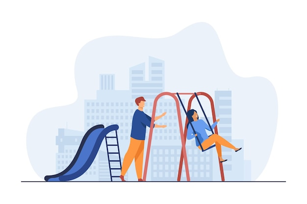 Young couple having fun on playground. guy swinging girlfriend on swing flat illustration