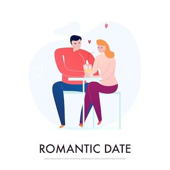 카페 평면 벡터 일러스트 레이 션에서 낭만적 인 데이트를하는 젊은 부부