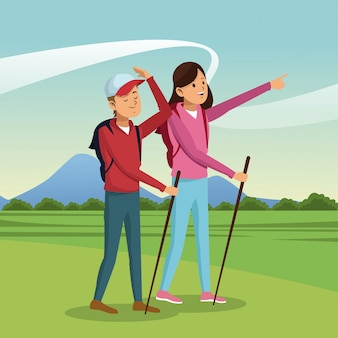 若い、カップル、ハイキング、バックパック、歩く、スティック、風景