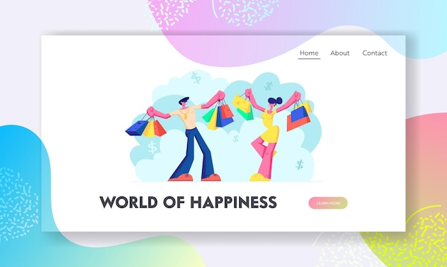 Young couple holding colorful shopping bags. having fun doing shopping together. pleasure of buy, seasonal sale at store, shop. website landing page, web page. cartoon flat vector illustration