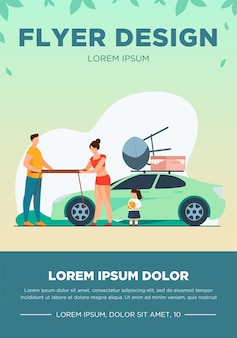 Young couple holding table for picnic on nature. car, vacation, summer flat vector illustration. family and weekend concept
