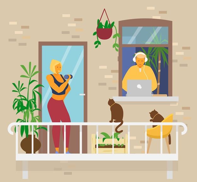 Young couple at home. blond smiling woman doing exercices with dumbbells on balcony with cats and plants.man in headphones in window works from home at laptop. home activities. flat vector.