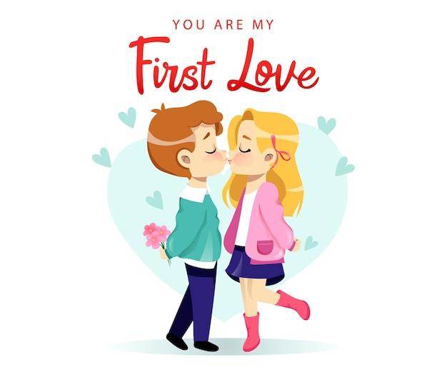 恋に若いカップル。恋愛中のカップルがイチャイチャ、キス。孤立した暖かいロマンチックな関係。フラットスタイル