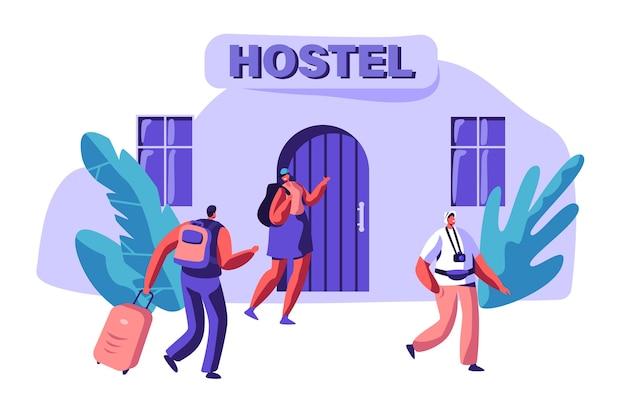 사랑 임대 경제 아파트에서 젊은 부부. 남자와 여자 캐릭터가 가방과 함께 호스텔 건물에 도착합니다. 국제 여행 개념. 휴일 플랫 만화 벡터 일러스트 레이 션을위한 사람들 예약 호텔