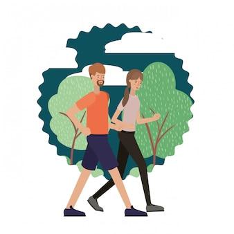 молодая пара в пейзаже аватар персонажа