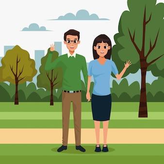 Молодая пара в парке пейзажей