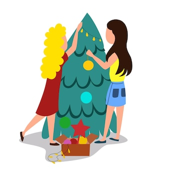 A young couple is decorating a christmas tree