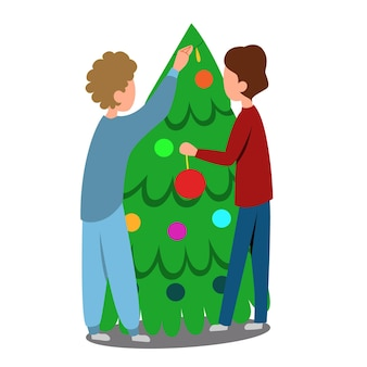 Young couple is decorating a christmas tree