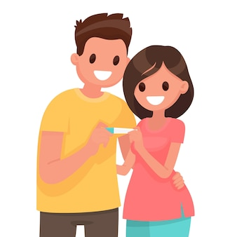 Young couple is happy about positive pregnancy test. in flat style
