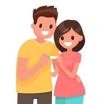 젊은 부부는 긍정적 인 임신 테스트에 대해 행복합니다. 플랫 스타일로
