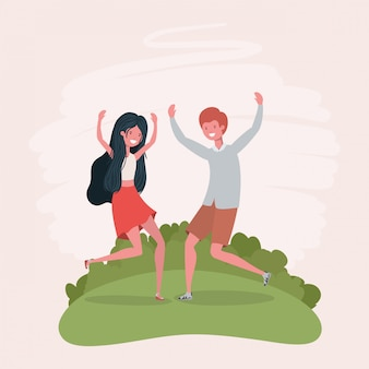 Young couple jumping celebrating in the park characters