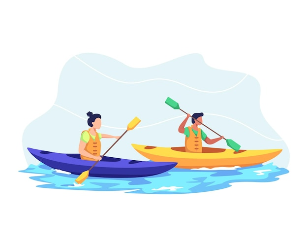Young couple kayaking on lake together, kayaking sport competition. man and woman vacation, wild and water fun on summer.  in a flat style