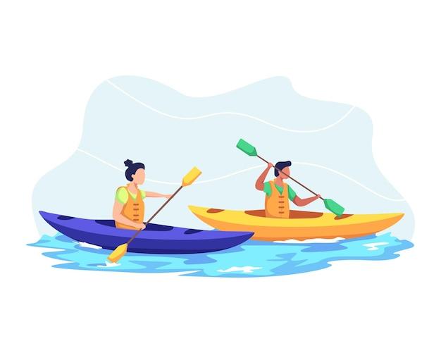 젊은 부부는 함께 호수에서 카약, 카약 스포츠 경쟁. 남자와 여자 휴가, 여름에 야생 및 물 재미. 플랫 스타일로