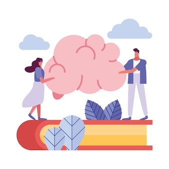 Young couple lifting brain in book creative people characters illustration design