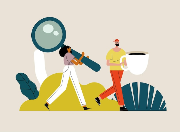 Young couple lifting coffee cup and magnifying glass characters  illustration