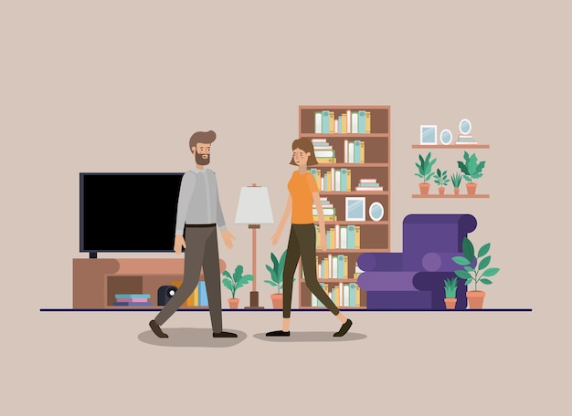 Young couple on the livingroom