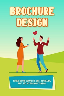 Young couple in love dating. meeting, red heart, drinking alcohol. flat vector illustration