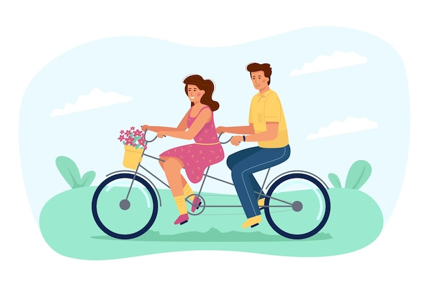 Young couple in love riding a bicycle
